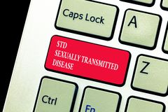 Handwriting text writing Std Sexually Transmitted Disease. Concept meaning Infection spread by sexual intercourse.  royalty free stock images