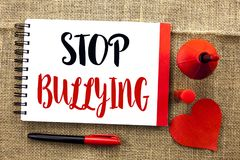 Handwriting text writing Stop Bullying. Concept meaning Do not continue Abuse Harassment Aggression Assault Scaring written on Not. Handwriting text writing Stop Royalty Free Stock Images