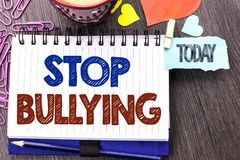 Handwriting text writing Stop Bullying. Concept meaning Do not continue Abuse Harassment Aggression Assault Scaring written on Not. Handwriting text writing Stop Stock Photography