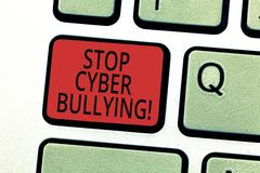 Handwriting text writing Stop Cyber Bullying. Concept meaning prevent use of electronic communication bully royalty free stock photos