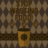 Handwriting text writing Stop Wasting Food. Concept meaning organization works for reduction food waste in society 3D. Coffee To Go Cup with Lid Cover and Stars royalty free illustration