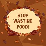 Handwriting text writing Stop Wasting Food. Concept meaning organization works for reduction food waste in society. Wreath Made of Different Color Seeds Leaves vector illustration