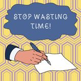 Handwriting text writing Stop Wasting Time. Concept meaning advising demonstrating or group start planning and use it. Handwriting text writing Stop Wasting Time vector illustration