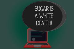 Handwriting text writing Sugar Is A White Death. Concept meaning Sweets are dangerous diabetes alert unhealthy foods stock illustration