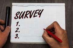 Handwriting text writing Survey. Concept meaning Questioning group of people to gather opinion on a particular subject Graph paper. Thoughts ideas important royalty free stock photography