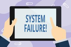 Handwriting text writing System Failure. Concept meaning Occur because of a hardware failure or a software issue. Handwriting text writing System Failure stock illustration