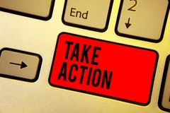Handwriting text writing Take Action. Concept meaning advices someone to do something or reaction right now Keyboard red key Inten. Tion create computer royalty free stock photos