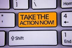 Handwriting text writing Take The Action Now Motivational Call. Concept meaning Act Start Promptly Immediate Instantly Silver colo. R polished modern computer royalty free stock photo