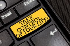 Handwriting text writing Take Control Of Your Life. Concept meaning Be the analysisager of your destiny motivation. Keyboard key Intention to create computer stock images
