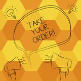 Handwriting text writing Take Your Order. Concept meaning Service in a restaurant caf or any other food place Freehand. Outline Sketch of Blank Speech Bubble stock illustration