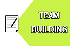 Handwriting text writing Team Building. Concept meaning Types of activities used to enhance social relations.  vector illustration