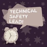 Handwriting text writing Technical Safety Lead. Concept meaning Maintain technical integrity and workplace safety Blank. Rectangular Color Speech Bubble Overlay royalty free illustration