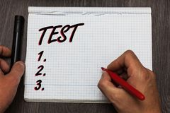 Handwriting text writing Test. Concept meaning Academic systemic procedure assess reliability durability proficiency Graph paper t. Houghts ideas important stock photo
