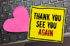 Handwriting text writing Thank You See You Again. Concept meaning Appreciation Gratitude Thanks I will be back soon Written on bla. Ck bordered yellow page royalty free stock images