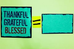 Handwriting text writing Thankful Grateful Blessed. Concept meaning Appreciation gratitude good mood attitude Black bordered blue. Page written on texts another stock image