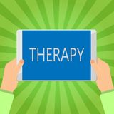 Handwriting text writing Therapy. Concept meaning Treatment intended to relieve or heal a disorder Healthcare vector illustration