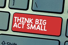 Handwriting text writing Think Big Act Small. Concept meaning Great Ambitious Goals Take Little Steps one at a time.  royalty free stock photography