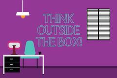 Handwriting text writing Think Outside The Box. Concept meaning Be unique different ideas bring brainstorming Work Space. Minimalist Interior Computer and Study vector illustration