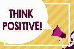 Handwriting text writing Think Positive. Concept meaning to believe that you are going to be succeed in your goal Huge. Handwriting text writing Think Positive royalty free illustration