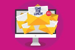 Handwriting text writing Time For Lunch. Concept meaning Moment to have a meal Break from work Relax eat drink rest Computer recei. Ving emails important royalty free stock photos