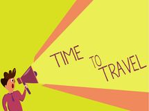 Handwriting text writing Time To Travel. Concept meaning Moving or going from one place to another on vacation.  stock illustration