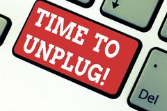 Handwriting text writing Time To Unplug. Concept meaning Relaxing giving up work disconnecting from everything Keyboard. Key Intention to create computer royalty free stock photography