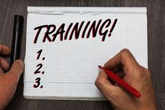 Handwriting text writing Training Motivational Call. Concept meaning Organized activity to develop skill set of people Graph paper. Thoughts ideas important stock photos