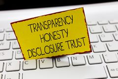 Handwriting text writing Transparency Honesty Disclosure Trust. Concept meaning Political Agenda Corporate Will.  stock photo
