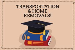Handwriting text writing Transportation And Home Removals. Concept meaning Moving shipping packages new house Color royalty free illustration