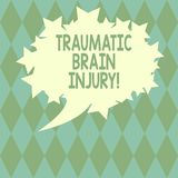 Handwriting text writing Traumatic Brain Injury. Concept meaning Insult to the brain from an external mechanical force Blank Oval. Color Speech Bubble with royalty free illustration