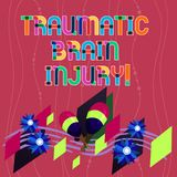 Handwriting text writing Traumatic Brain Injury. Concept meaning Insult to the brain from an external mechanical force. Colorful Instrument Maracas Handmade stock illustration