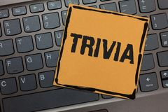 Free Handwriting Text Writing Trivia. Concept Meaning Pieces Of Insignificant Info Of Something Someone Someplace Black Laptop Keyboard Stock Photography - 120440922