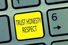 Handwriting text writing Trust Honesty Respect. Concept meaning Respectable Traits a Facet of Good Moral Character royalty free stock image