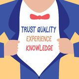 Handwriting text writing Trust Quality Experience Knowledge. Concept meaning Customer quality service and satisfaction.  vector illustration
