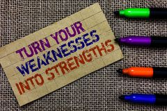 Handwriting text writing Turn Your Weaknesses Into Strengths. Concept meaning work on your defects to get raid of them Paperboard. Computer mouse jute stock photos
