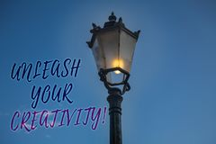 Handwriting text writing Unleash Your Creativity Call. Concept meaning Develop Personal Intelligence Wittiness Wisdom Light post b. Lue sky enlighten ideas stock photo