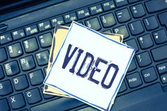 Handwriting text writing Video. Concept meaning recording reproducing or broadcasting of moving visual images royalty free stock image
