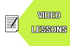 Handwriting text writing Video Lessons. Concept meaning Online Education material for a topic Viewing and learning.  Vector Illustration
