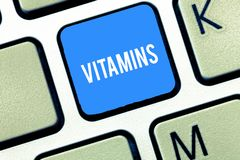 Handwriting text writing Vitamins. Concept meaning group of organic compounds which are essential for normal growth. Keyboard key Intention to create computer royalty free stock image