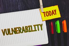Handwriting text writing Vulnerability. Concept meaning Information susceptibility systems bug exploitation attacker Papers marker. Pens nice art daily creative royalty free stock image
