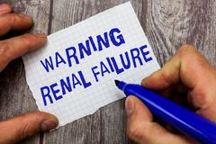 Handwriting text writing Warning Renal Failure. Concept meaning stop Filtering Excess Waste Acute Kidney malfunction.  stock images