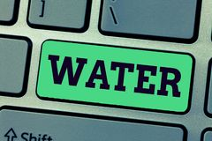 Handwriting text writing Water. Concept meaning colourless transparent odourless liquid which forms seas rivers.  stock images