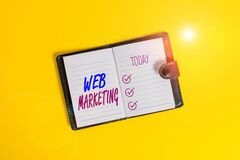 Handwriting text writing Web Marketing. Concept meaning The process of using the Internet to market the business Dark leather