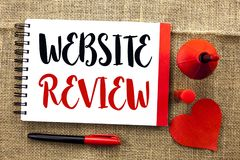 Handwriting text writing Website Review. Concept meaning Homepage Evaluation Customer Opinion Satisfaction Ranking written on Note. Handwriting text writing royalty free stock photos