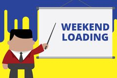 Handwriting text writing Weekend Loading. Concept meaning Starting Friday party relax happy time resting Vacations stock images