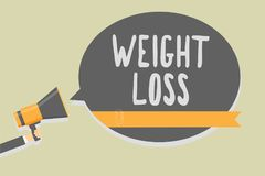 Handwriting text writing Weight Loss. Concept meaning Decrease in Body Fluid Muscle Mass Reduce Fat Dispose Tissue Man holding meg. Aphone loudspeaker speech royalty free illustration