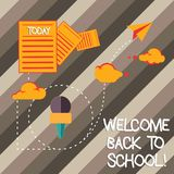 Handwriting text writing Welcome Back To School. Concept meaning Return to classroom Study again Education Motivation Information. And Documents Passing thru stock photography