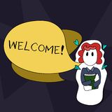 Handwriting text writing Welcome. Concept meaning Warm salutation acknowledgement for someone amiable loved thanked Girl. Handwriting text writing Welcome stock illustration