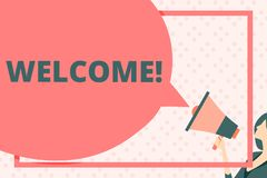 Handwriting text writing Welcome. Concept meaning Warm salutation acknowledgement for someone amiable loved thanked Huge. Handwriting text writing Welcome royalty free illustration