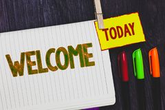 Handwriting text writing Welcome. Concept meaning Warm salutation acknowledgement for someone amiable loved thanked Papers marker. Pens nice art daily creative stock photography